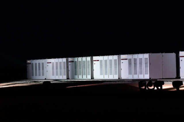 Tesla Powerpack batteries during a launch event at Hornsdale Wind Farm on September 29, 2017 in Adelaide, Australia.