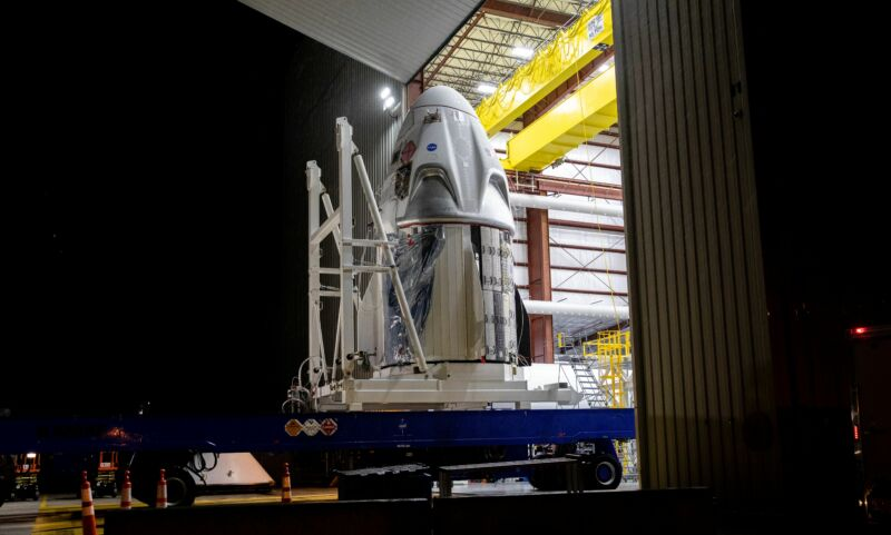 The SpaceX Crew Dragon spacecraft arrives at Launch Complex 39A at NASA's Kennedy Space Center in Florida.