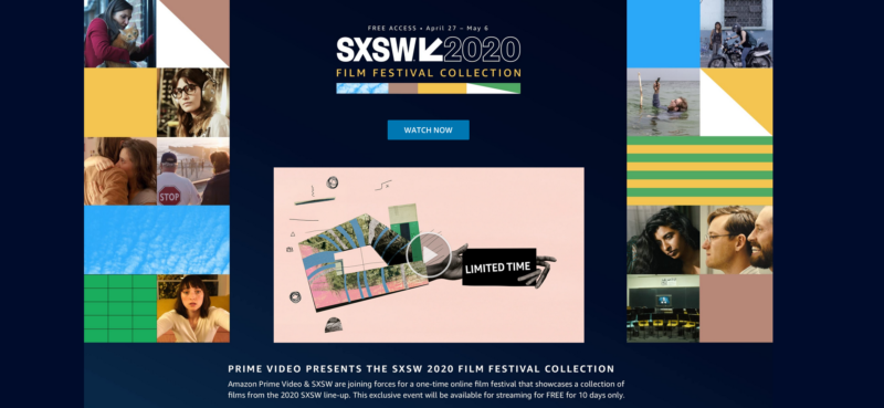 Fire up Amazon Prime in a browser, and here's the landing page for the platform's partnership with SXSW.