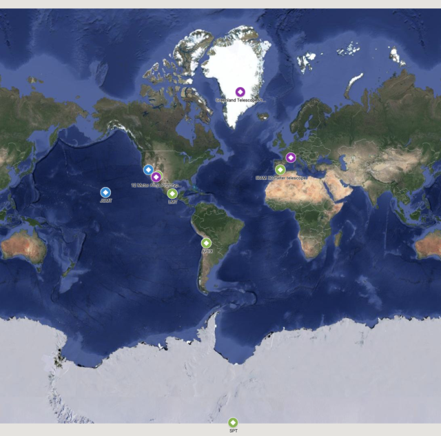 The locations of the telescopes that contribute to the Event Horizon Telescope.