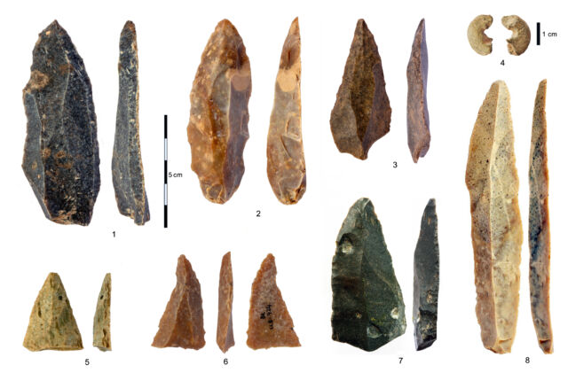Stone artifacts from the Initial Upper Paleolithic at Bacho Kiro Cave. 1-3, 5-7: Pointed blades and fragments from Layer I; 4: Sandstone bead with morphology similar to bone beads; 8: The longest complete blade.