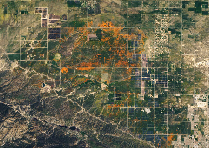 Let's start with something nice... check the orange popping out of this April 14 satellite image of the Antelope Valley California Poppy Reserve.
