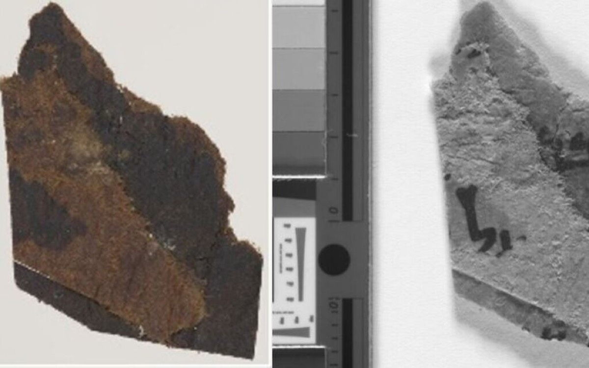 Image: Naked eye view of a scroll fragment (left). Multispectral imaging of the same scroll fragment (left). Photo: University of Manchester