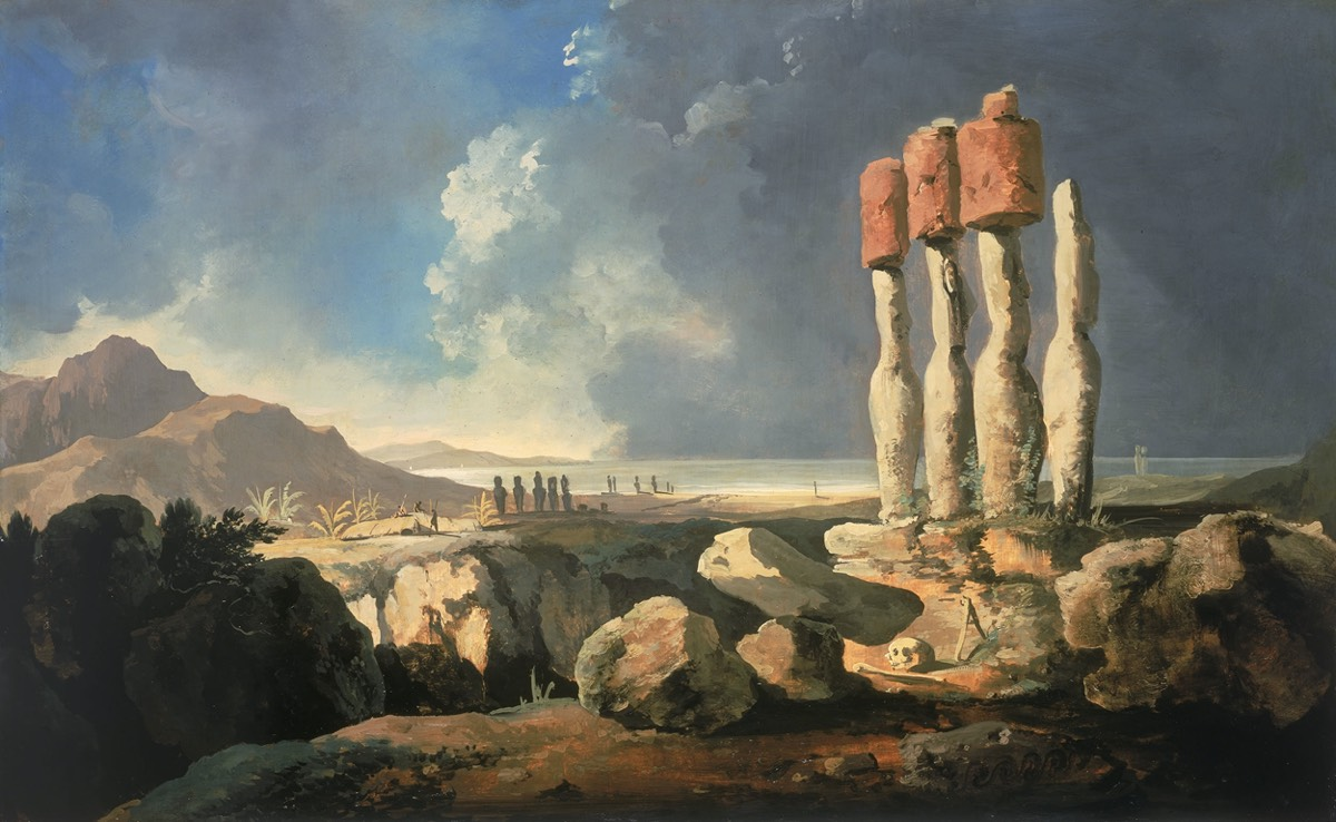 <em>A View of the Monuments of Easter Island, Rapanui,</em> circa 1775–1776 by William Hodges.