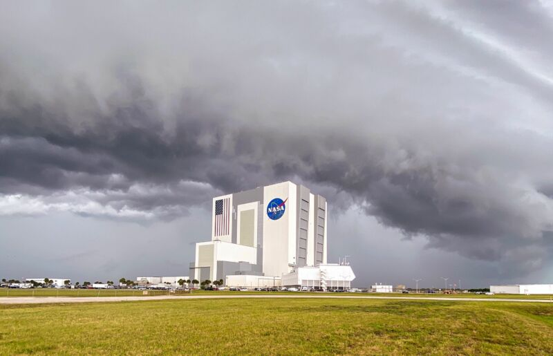Skies at 2pm ET Wednesday over the launch site were rather stormy.