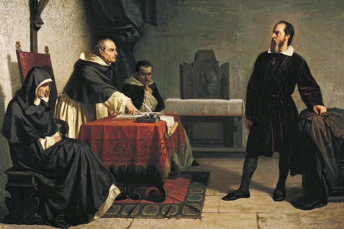 Cristiano Banti's 1857 painting <em>Galileo facing the Roman Inquisition</em>