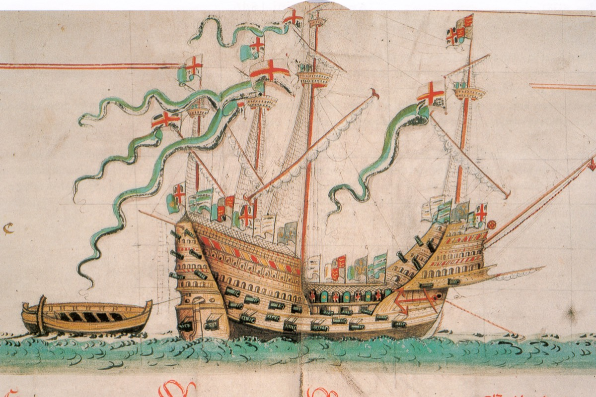 The Mary Rose as depicted in the Anthony Roll, a record of ships of the English Tudor navy of 1540.