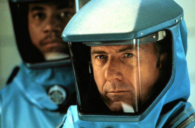 Dustin Hoffman stars in <em>Outbreak</em> (1995), about the lengths to which humanity is willing to go to contain the spread of a fictional Ebola-like Motaba virus