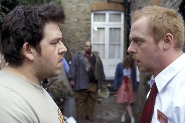 Classic zom-com <em>Shaun of the Dead</em> (2004) is the first film in Simon Pegg and Edgar Wright's <em>Three Flavours Cornetto</em> trilogy.