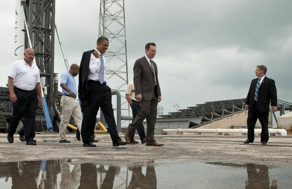 President Barack Obama tours SpaceX facilities, along with founder Elon Musk, at Cape Canaveral Air Force Station in April, 2010.