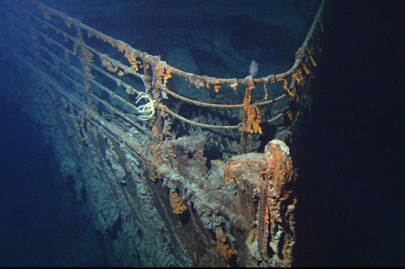 The front of a 1900s ocean liner is barely recognizable after having spent nearly a century at the bottom of the ocean.