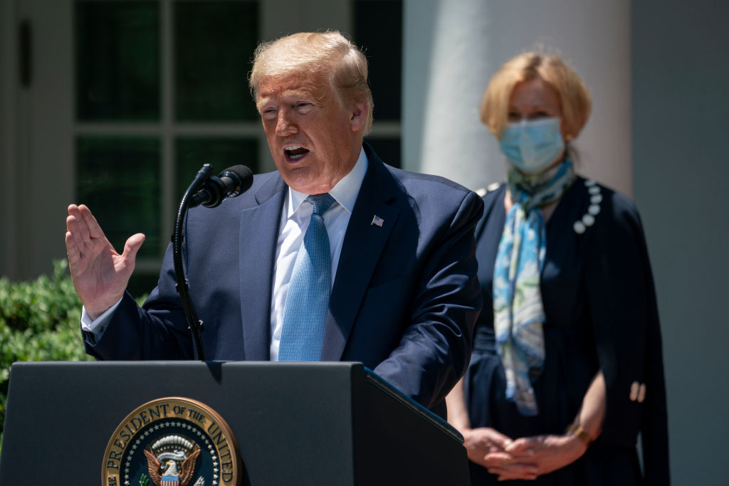 "President Donald Trump has said that the US drive to find a vaccine is ""moving on at record, record, record speed."""