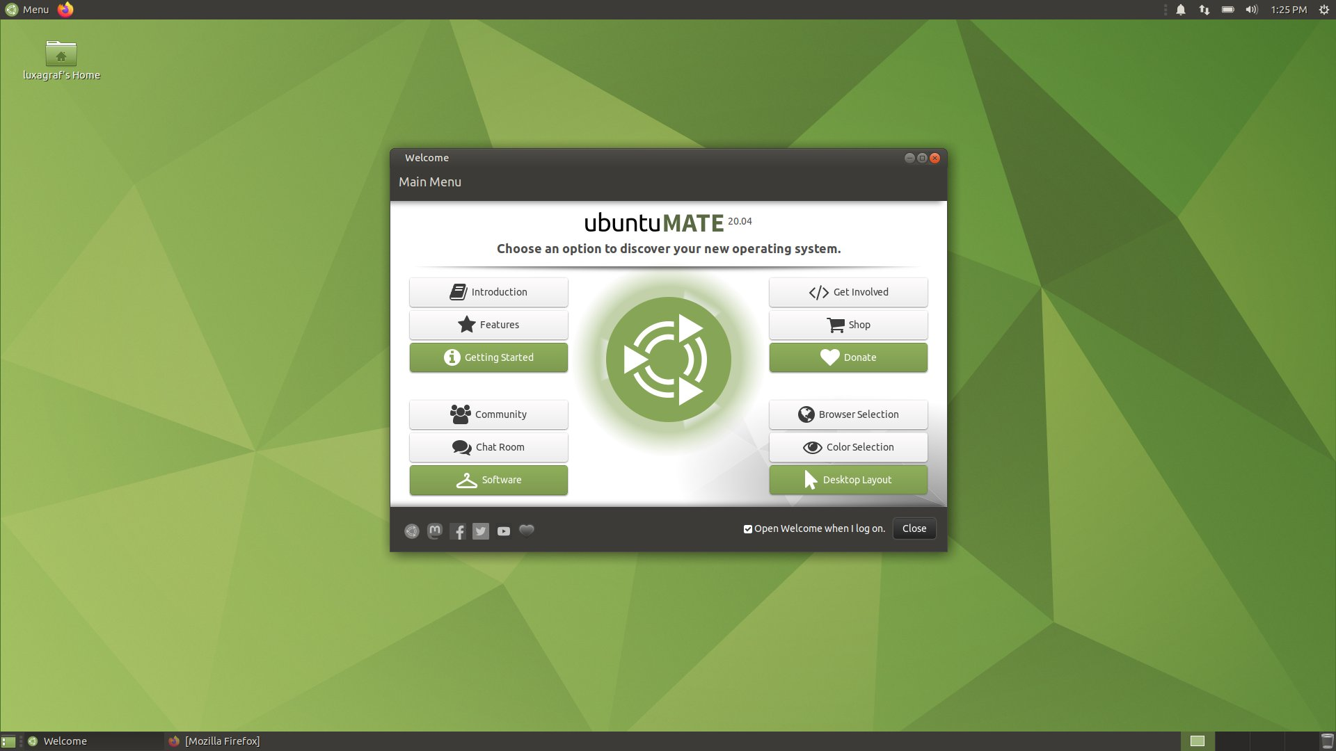 The Ubuntu MATE desktop in Ubuntu 20.04.
