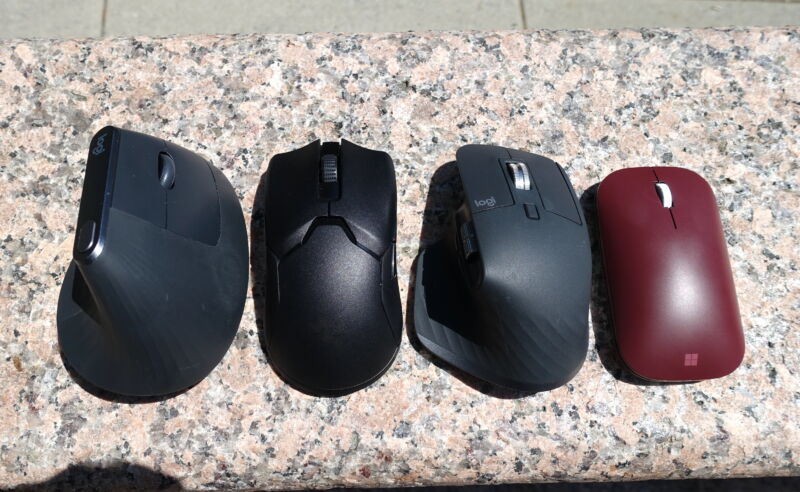 a selection of wireless mice