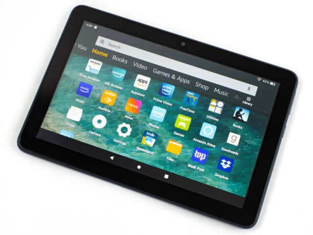 The Amazon Fire HD 8 Plus tablet.