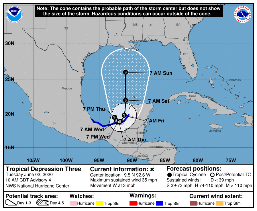 Official forecast track for Cristobal at 11am ET Tuesday.