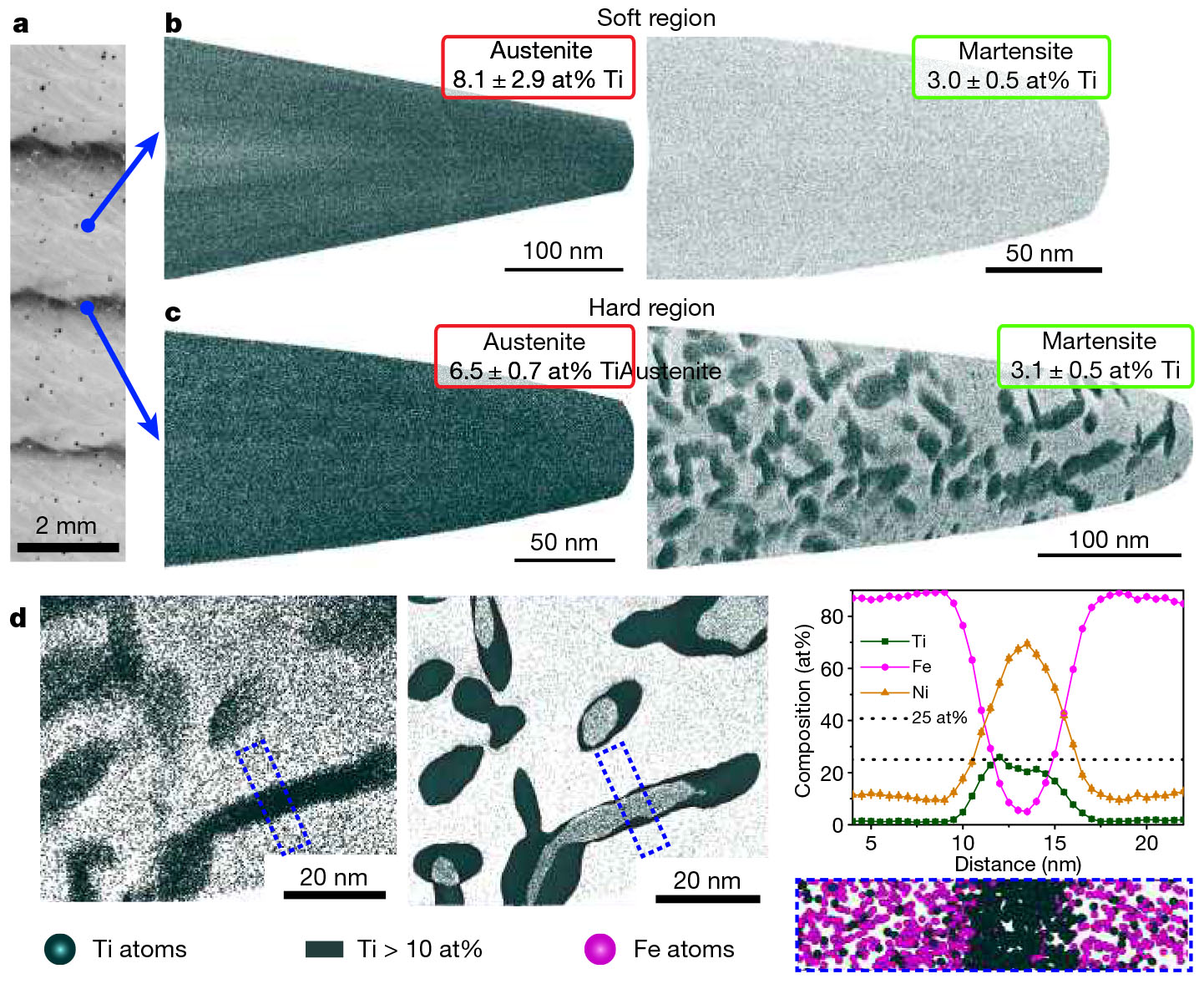 A close-up look at the layered metal (top left) with atom-mapping analyses showing the dark flecks of precipitated nickel-titanium. Graph at bottom right shows the make-up of the dashed rectangle.