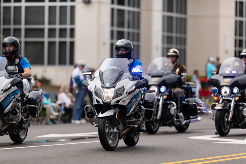 Members of the Wilmington, North Carolina, police force taking part in the city's annual Azalea Festival parade in April 2019.