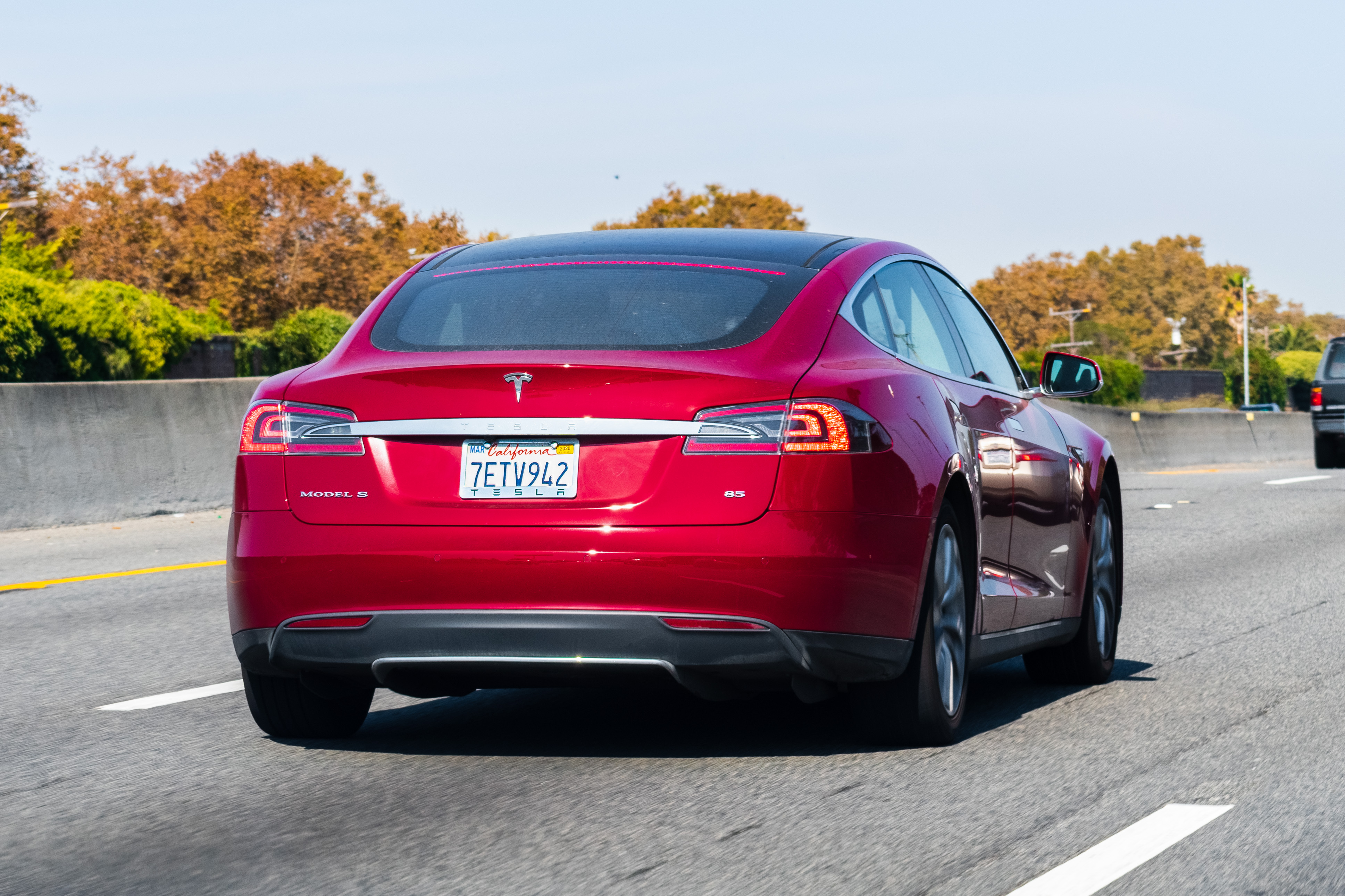 A Tesla Model S driving on the freeway in Silicon Valley.