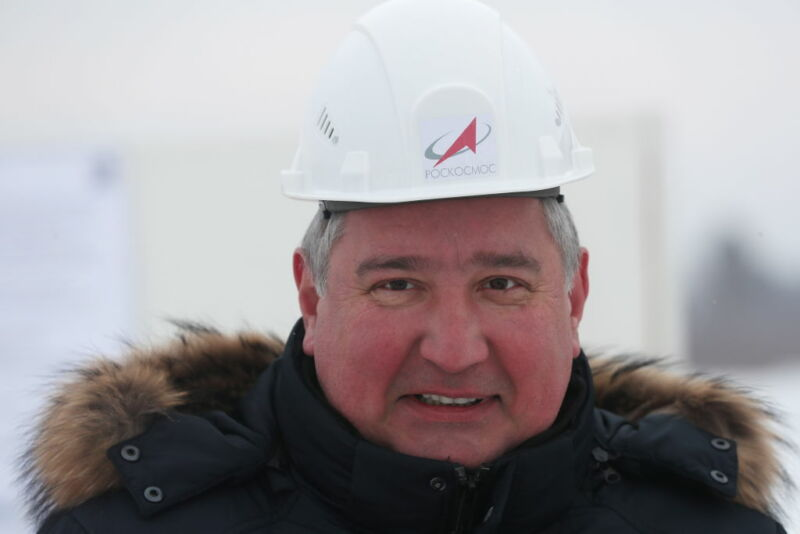 Roscosmos head Dmitry Rogozin visits the construction site for the launch pad for the rocket boosters of the Angara family, at the Vostochny Cosmodrome.