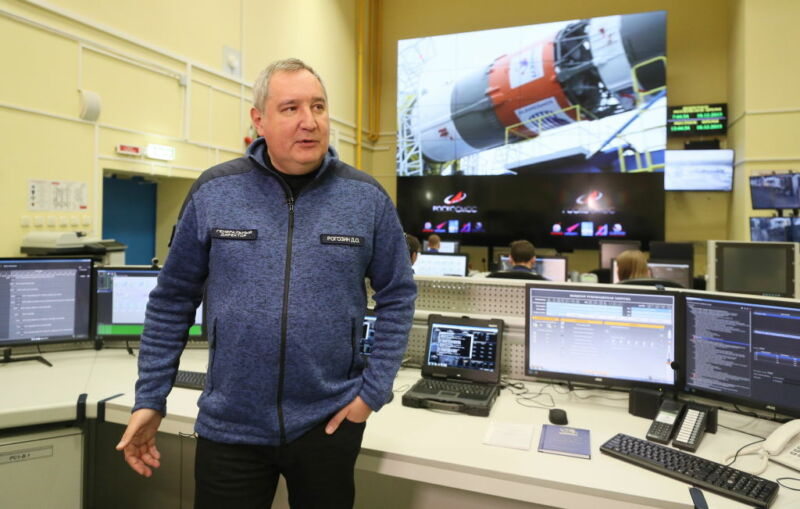 Roscosmos head Dmitry Rogozin visits the control center for a launch pad for the Soyuz-2 carrier rockets at the Vostochny Cosmodrome.