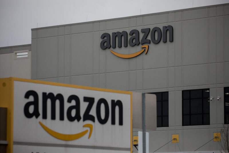 Amazon.com Inc. signage is displayed in front of a warehouse in Staten Island, New York, US, on Tuesday, March 31, 2020.