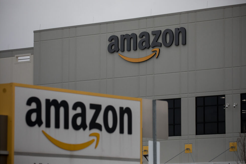 Amazon.com Inc. signage is displayed in front of a warehouse in Staten Island, New York on Tuesday, March 31, 2020.