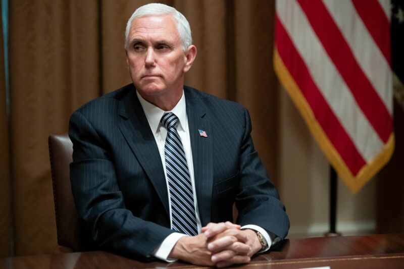 US Vice President Mike Pence having a facial expression during a roundtable meeting on seniors with US President Donald Trump in the Cabinet Room at the White House in Washington, DC, June 15, 2020.