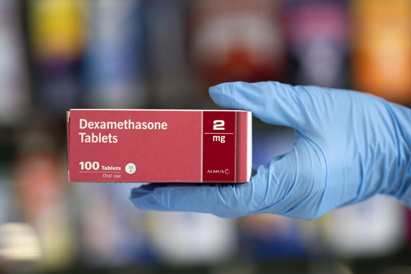 A close-up of a box of Dexamethasone tablets in a pharmacy on June 16, 2020 in Cardiff, United Kingdom.