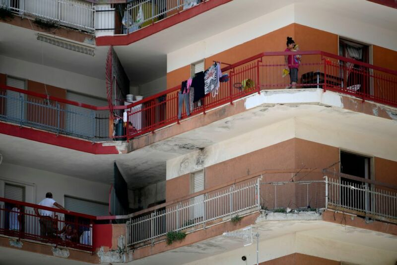 Colorful Italian apartment building.