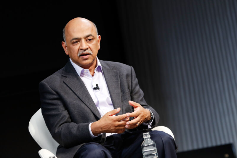 IBM CEO Arvind Krishna speaking at a conference in 2016, when he was SVP and director at IBM Research.