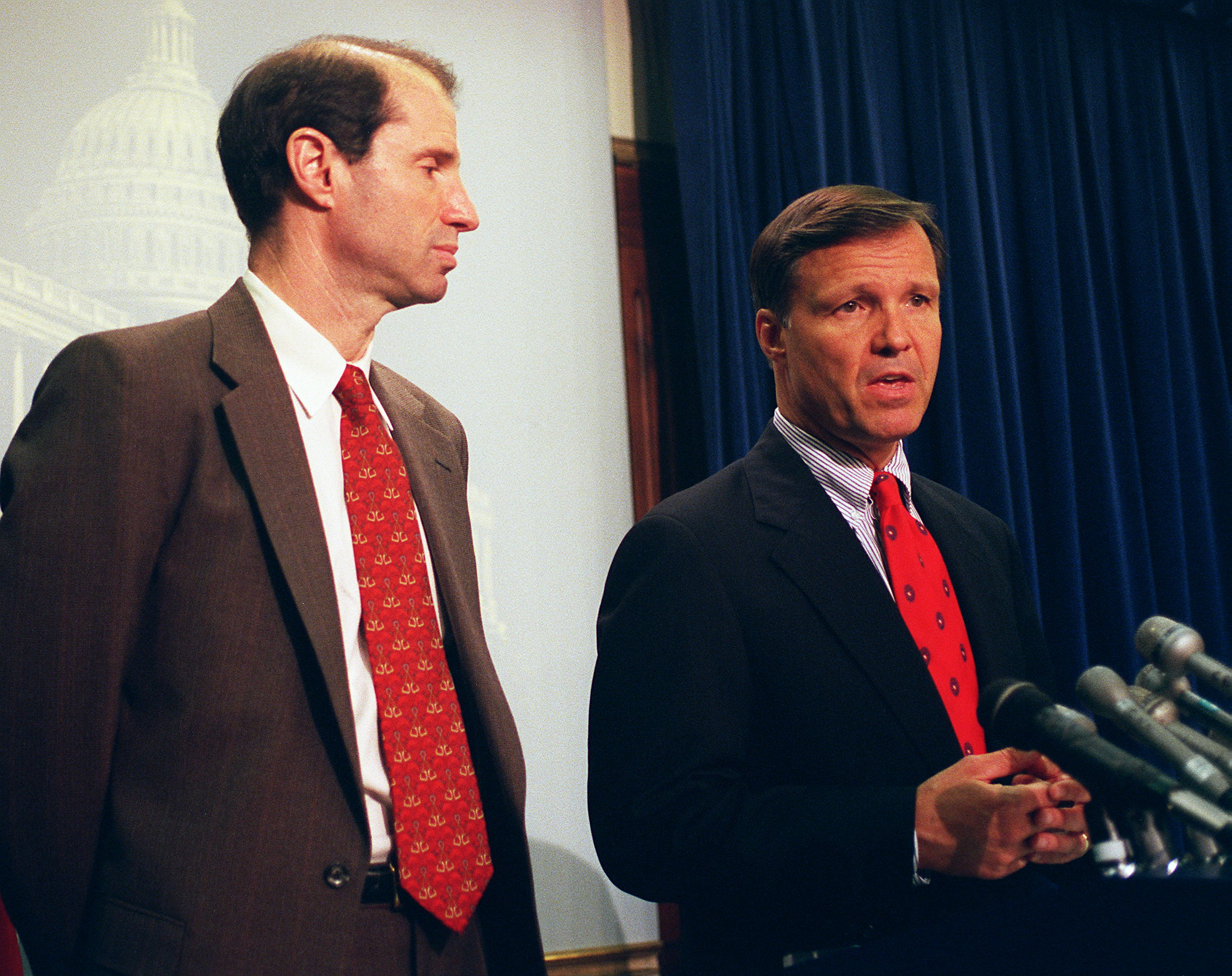 Sen. Ron Wyden (D-Ore.) and Rep. Christopher Cox (R-Calif.) in 1997, a year after Section 230 was enacted.