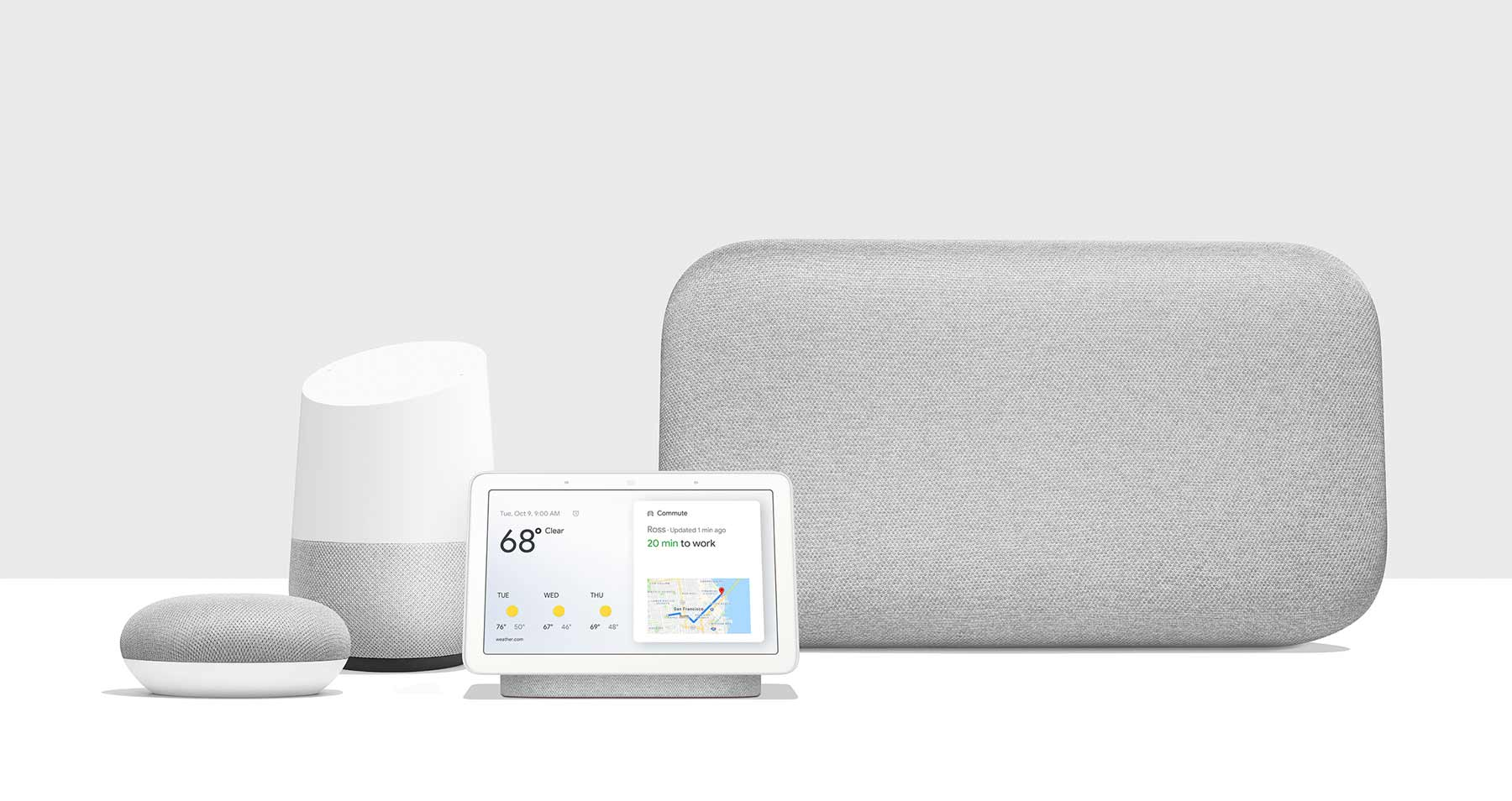 The Google Home / Google Nest family of speakers. You need to pay a monthly fee to use them with YouTube Music.