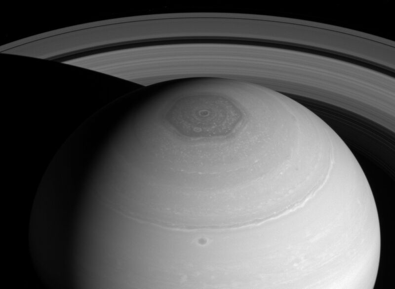 This was the Cassini spacecraft's view of Saturn's polar hexagon in 2014.