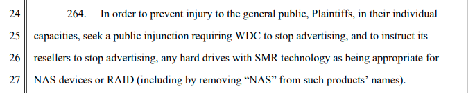 "If the lawsuit succeeds, Western Digital will be forced to stop marketing SMR disks as ""NAS"" disks, period."