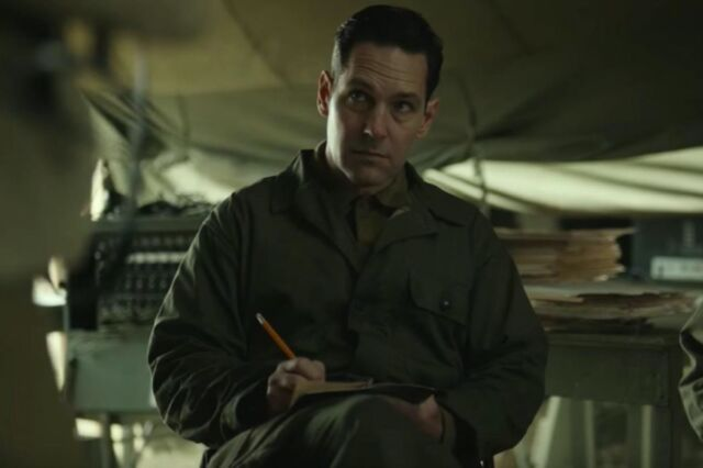 Paul Rudd as baseball player Moe Berg in <em>The Catcher Was a Spy.</em> Berg became a spy during World War II to beat Nazi Germany in the race to build the first atomic bomb.