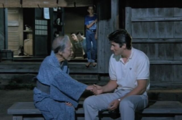 A Japanese widow (Sachiko Murase) who lost her husband in the bombing of Nagasaki meets her American nephew (Richard Gere) in <em>Rhapsody in August</em>.