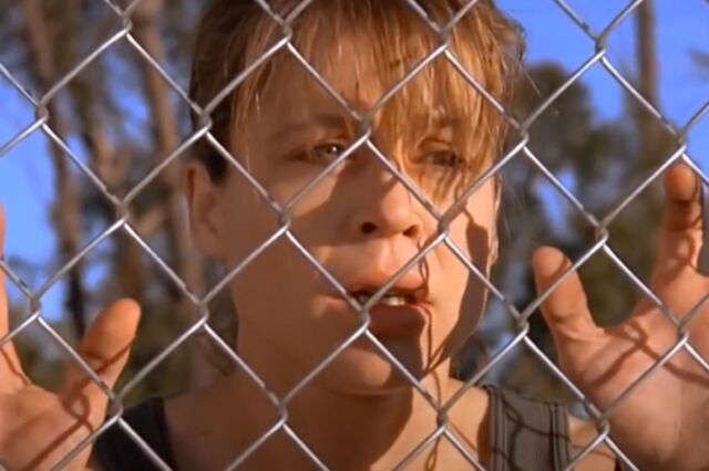 Sarah Connor (Linda Hamilton) has a vivid nightmare about nuclear holocaust in a famous scene from <em>Terminator 2: Judgment Day</em>.