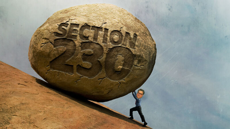 Photoshopped image of Attorney General Bill Barr rolling a giant boulder labeled Section 230 up a mountain.
