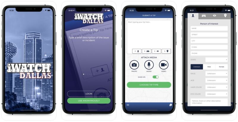 Screenshots of the iWatch Dallas iPhone app, which lets users submit tips to police.