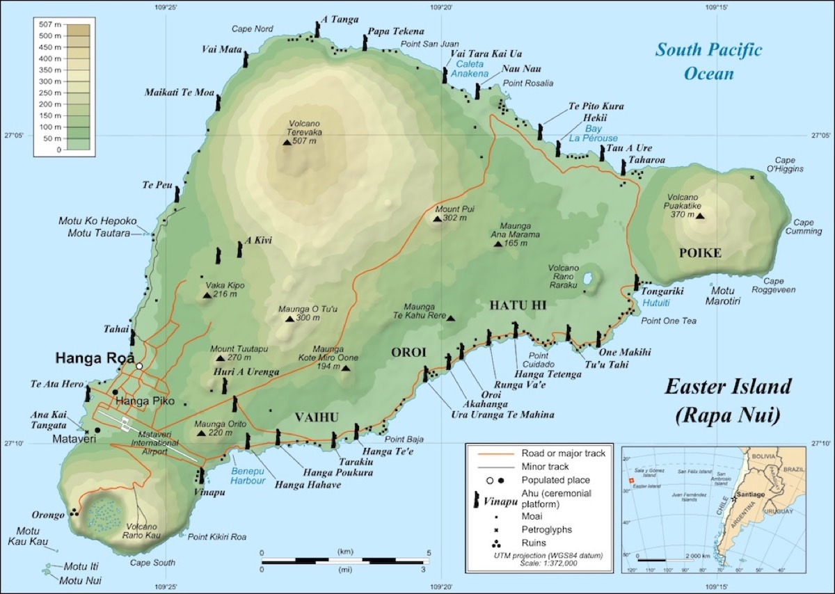 Easter Island—known as Rapa Nui by its indigenous people—features many human-like statues distributed across the isle.
