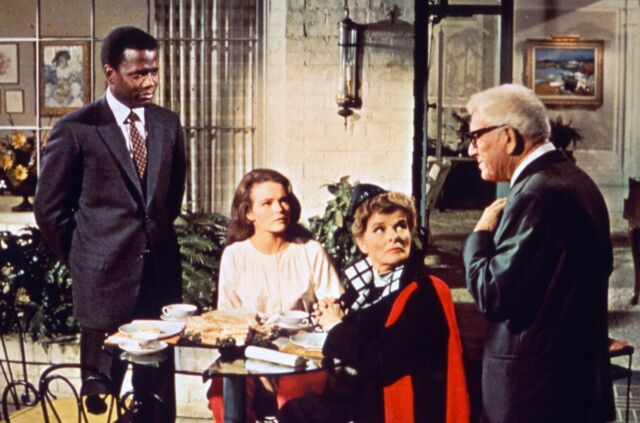 Sidney Poitier, Katharine Houghton, Katharine Hepburn, and Spencer Tracy starred in <em>Guess Who's Coming to Dinner</em>
