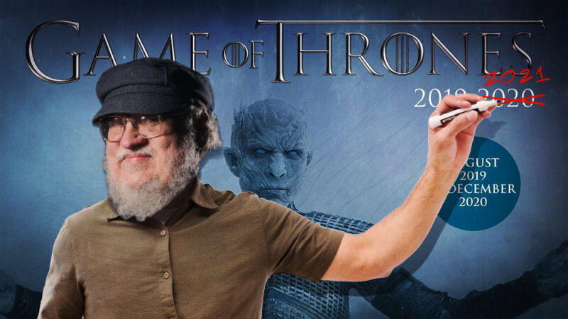 Photoshop processing of the images the writer George R Martin standing in front of promotional images from the TV show Game Of Thrones.