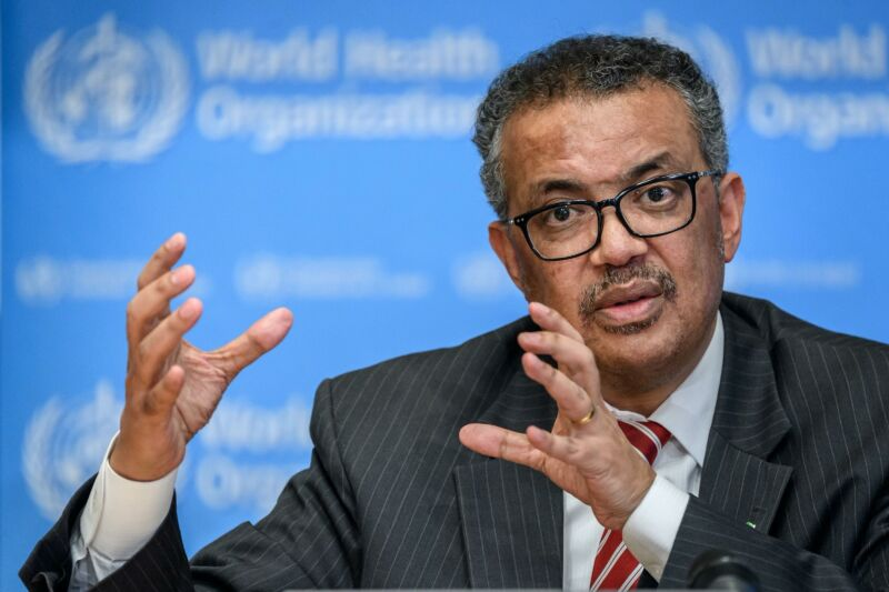 World Health Organization Director-General Tedros Adhanom Ghebreyesus speaking at a press conference.