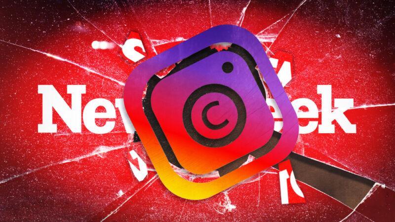 The Instagram logo smashes the Newsweek logo.