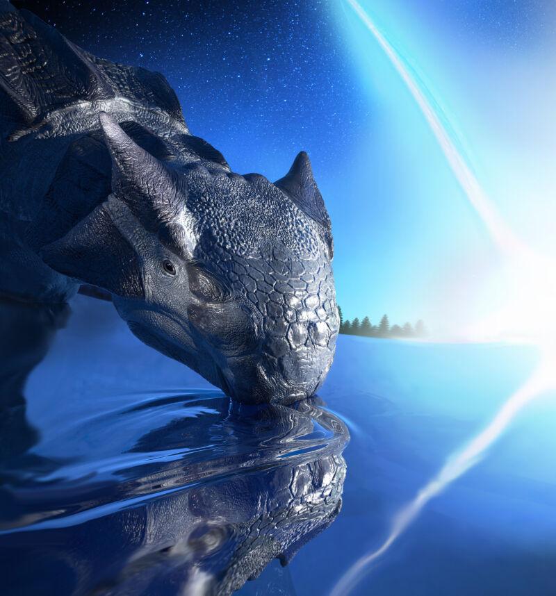 Artist's depiction of <em>Ankylosaurus magniventris</em> having a bad day.