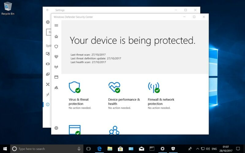 Screenshot of antivirus protection.