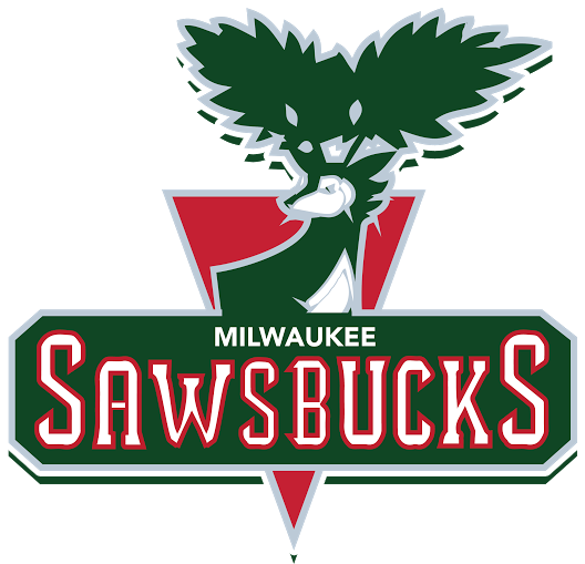 Draft-league teams develop their own pro sports-style logos, like this one for the Milwaukee Sawbucks.