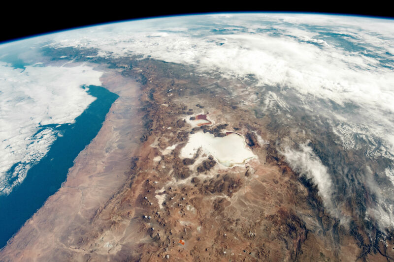 The Andes along the border of Bolivia and Chile, as seen from the International Space Station.