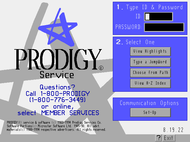 A login screen from Prodigy